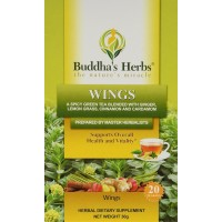Wings Tea - Green Tea with Ginger, Cinnamon & Cardamom - 2 Pack - 20 Count Bags - Herbal Green Tea - Spicy Green Tea