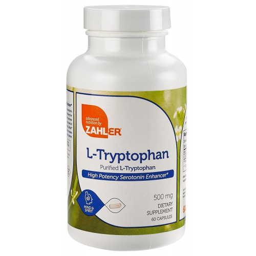Zahler L-Tryptophan 500mg Supplement, Supports Sleep Mood and Relaxation, Certified Kosher, 60 Capsules