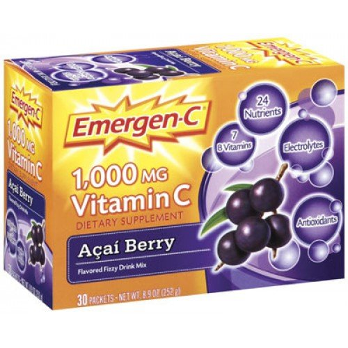 Alacer Emergen-C Vitamin C Acai Berry -- 1000 mg - 8.9 oz Each / Pack of 30