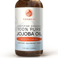 100% Pure Organic Jojoba Oil - Incredible Benefits for Face, Skin, Hair & Nails - Exceptional for Sensitive & Dry Skin - Abundant in Key Nutrients, Fatty Acids & Vitamins C & E - Unrefined & Cold Pressed - Foxbrim 4OZ