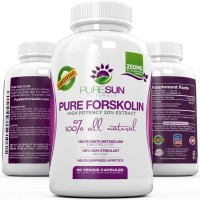 100% Pure & Potent Forskolin Extract 90 Capsules - Fast Weight Loss Supplement, Fat Burner, & Metabolism Boost - Premium Coleus Forskohlii Standardized at 20% by Pure Sun Naturals - 250mg per Capsule