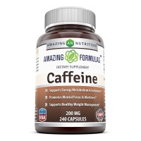 Amazing Formulas Caffeine 200 Mg 240 Capsules - Boosts your metabolism for faster fat loss - Pre workout boost and energizer