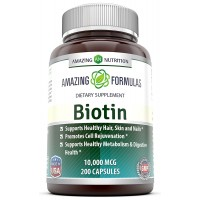Amazing Nutrition Biotin 10,000 Mcg 200 Capsules - Supports Healthy Hair and Nails - Supports Energy Production