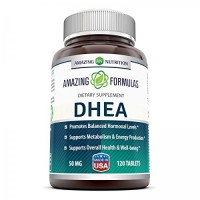 Amazing Nutrition DHEA Supplement - 50mg 120 Tablets Dehydroepiandrosterone Hormone Tablets for Men and Women - Easier to Use Than Cream and Powder Products