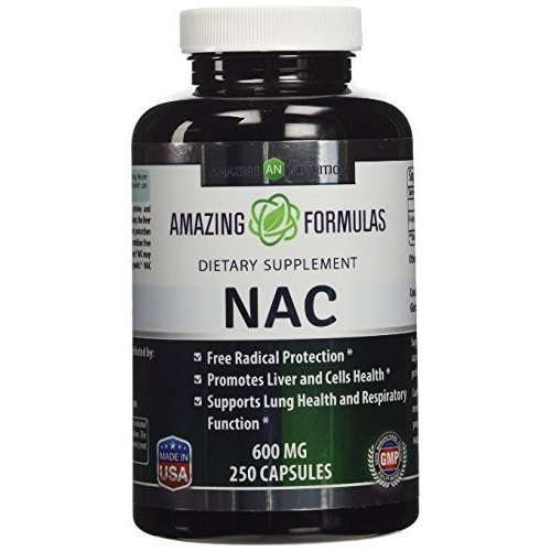 Amazing Nutrition NAC 600 Mg 250 Capsules - Free Radial Protection - Promotes Liver and Cell Health - Supports Lung Health and Respiratory Function by Amazing Nutrition