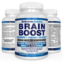 Brain Boost Nootropics for Memory, Focus, Clarity, Concentration, Mood, Alertness, Sharp Mind, Cognitive Function Enhancement - 41 Vitamins DMAE Herbal Nootropic Supplement - BioScience Nutrition USA