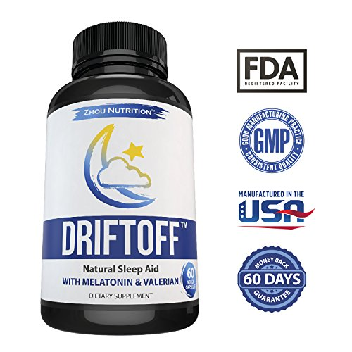 Driftoff Natural Sleep Aid with Valerian Root & Melatonin - Sleep Well,  Wake Refreshed - Non Habit Forming Sleep Supplement - Also Includes 5 HTP,