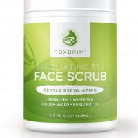 Exfoliating Tea Face Scrub - Natural & Organic - Moisturize While Cleansing and Repairing Skin - With Green & White Tea, Avocado & Olive Butters, and Aloe - Foxbrim 1.7OZ