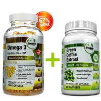 Green Coffee Bean Extract + Omega 3 Fish Oil Pills - Healthy Blood Pressure and Cholesterol Support Bundle - 160 Count + Free Vitamin D3 as a Bonus ★ (see instructions below)
