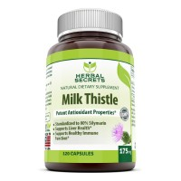 Herbal Secrets Milk Thistle - 175mg Milk Thistlet (Seed) Extract - Standerdized to Contain 80% Silymarin (140 mg) per capsule - Supports Helathy Liver Function and Detoxification, Promotes Immune Function- 120 Capsules per container