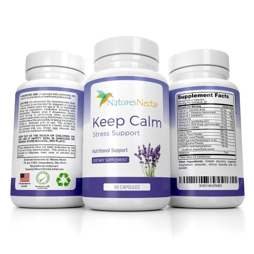 Keep Calm - Natural Stress And Anxiety Relief Supplement - Capsules Help  Fight Panic Attacks & Depression - Made of Valerian, Magnesium, GABA,