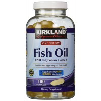 Kirkland Signature Fish Oil 1200 Mg Enteric Coated Provides 684 Mg of Omega-3 Fatty Acids: 180 Softgels