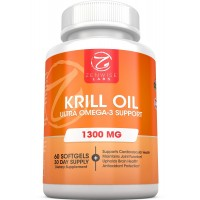 Krill Oil - 1300 MG Omega-3 Supplement for Men & Women - 60 Liquid Softgels With Vitamin A, EPA & DHA Fatty Acids - Supports Heart, Brain, Joints & Immune System