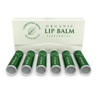 Lip Balm, Lip Care Therapy, Moisturizer Butter. Organic, 100% Natural Ingredients. Repair, Condition, Dry, Chapped, Cracked Lips. Made in the USA. Christina Moss Naturals (6 Pack, Peppermint).