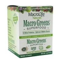 Macro Life Naturals Miracle Greens Super Food Supplement (12 Day Supply) 12 Packets Powder (12/4 oz) 12 x 4 Oz ( Value Bulk Multi-pack)