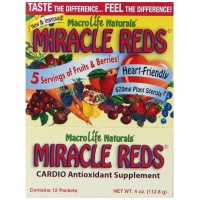 MacroLife Naturals Miracle Reds, Anti-oxidant Super Food Supplement, Great Berry Flavor, 12-Count