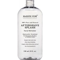 Majestic Pure Aftershave Splash with Organic Aloe, Witch Hazel, White Willow, and Tea Tree, 8 Fluid Ounce