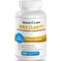 MaxX Labs Max Clarity Brain Supplement ★Fights Brain Fog and Memory Loss ★Helpful for a Sharp Mind and Clear Focus - One of the Best Brain Food and Brain Health Supplements - Gluten Free - 60 Capsules