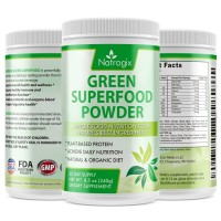 Natrogix Green Superfood Dietary Supplement - Gluten Free, Vegan Whole Food Nutrition & Powerful Antioxidant and Fiber Powder & Rich in Vitamins, Minerals and Probiotics (8.5Oz), 30 Servings.