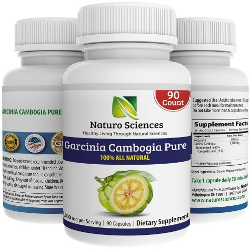 Naturo Sciences Pure Garcinia Cambogia Extract With Hca 100 All Natural Dietary Supplement Live A Healthy Life 90 Count 1000mg Per Serving 45