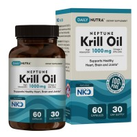 Neptune Krill Oil 1000mg High Absorption Omega-3 EPA DHA & Astaxanthin. Pure and Sustainable. Clinically shown to supports healthy heart, brain and joints (60 Softgel Capsules)