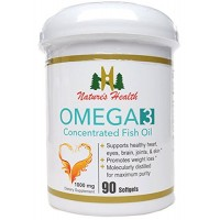 OMEGA 3, Naturally Boost Cognitive Functions, Healthy Cholesterol Support, Vision Health, Concentrated Fish Oil, 1000 Mg, 90 Softgels, Nature's Health