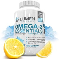 Omega 3 Essentials Fish Oil - 180 Capsules - Shown to Support Immune System, Assist Brain Health, Manage Cholesterol levels & Strengthen Bones - 1290 EPA DHA Fatty Acids - Lemon Flavor Burpless Softgel Supplements
