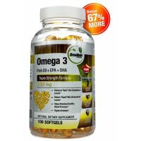 Omega 3 Fish Oil Pills *Pay for 60 Softgels and get 100 * Triple Strength Formula (Fish Oil Supplement + DHA + EPA) - Supercharge your Brain, Promote a Healthier Heart and Support Joints with 2000 mg of Omega 3 Fatty Acids per Serving