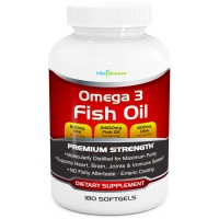Omega 3 Fish Oil Supplement (180 Softgels) - 2400mg Triple Strength Fish Oil with 800mg EPA & 600mg DHA Omega-3 Fatty Acids Per Serving - Molecularly Distilled Fish Oil Sourced From Deep Ocean Water Fish