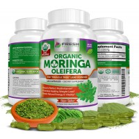 PREMIUM 100% ORGANIC MORINGA OLEIFERA ✮ Boosts Mental Focus, Immune System, Skin & Metabolism w/ Antioxidant Rich Superfood ✮120 Vegetable Capsules by Fresh Healthcare