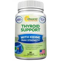 Premium Thyroid Support Supplement With Iodine (180 Capsules) - Best Herbal & Vitamin Complex w/ B12, Ashwagandha, Bladderwrack & Kelp - Helper for Healthy Hormone, Energy, Metabolism, & Weight Loss