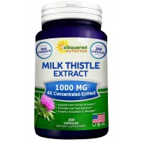Pure Milk Thistle Supplement 1000mg - 200 Capsules, Max Strength 4X Concentrated Extract 4:1 Milk Thistle Seed Powder Herb Pills, 1000 mg Silymarin Extract for Liver Support, Cleanse, Detox & Health