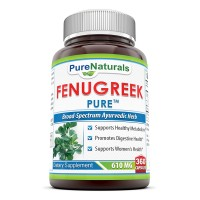 Pure Naturals Fenugreek Seed Supplement - 610 mg , 360 Capsules Per Bottle - All Natural Supplements To Support Womens Health, Digestive Health and Overall Well-Being