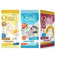 Quest Nutrition Protein Powder Packets, (12 Count) 4 Banana Cream, 4 Cookies and Cream, 4 Salted Caramel