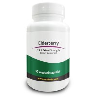 Real Herbs Elderberry Extract - Derived from 10,500mg of Elderberries with 15 : 1 Extract Strength - Boosts Immunity, Antioxidant & Cardiovascular Support - 50 Vegetarian Capsules