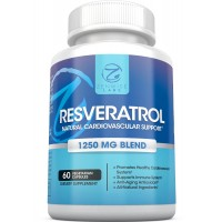 Resveratrol - 1250 MG Extra Strength Supplements - The Premium All-Natural Formula for Healthy Immune & Cardiovascular System - Total Anti-Aging Antioxidant Skin Protection- 60 Capsules