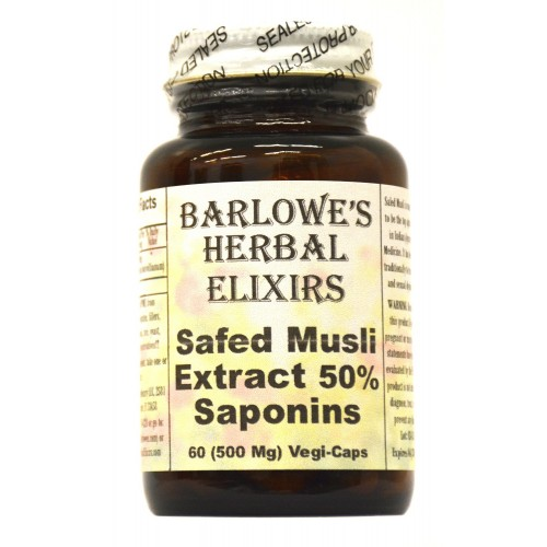 Safed Musli Extract - 50% Saponins - 60 500mg VegiCaps - Stearate Free, Bottled in Glass