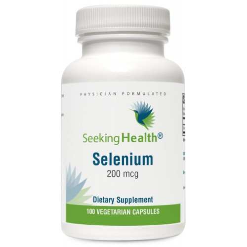 Selenium | Provides 200 mcg of Natural Selenium Per Dose | 100 Easy-To-Swallow Vegetarian Capsules | Free of Common Allergens and Magnesium Stearate | Physician Formulated | Seeking Health