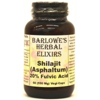 Shilajit Extract (20% Fulvic Acid) - 60 550mg VegiCaps - Stearate Free, Bottled in Glass
