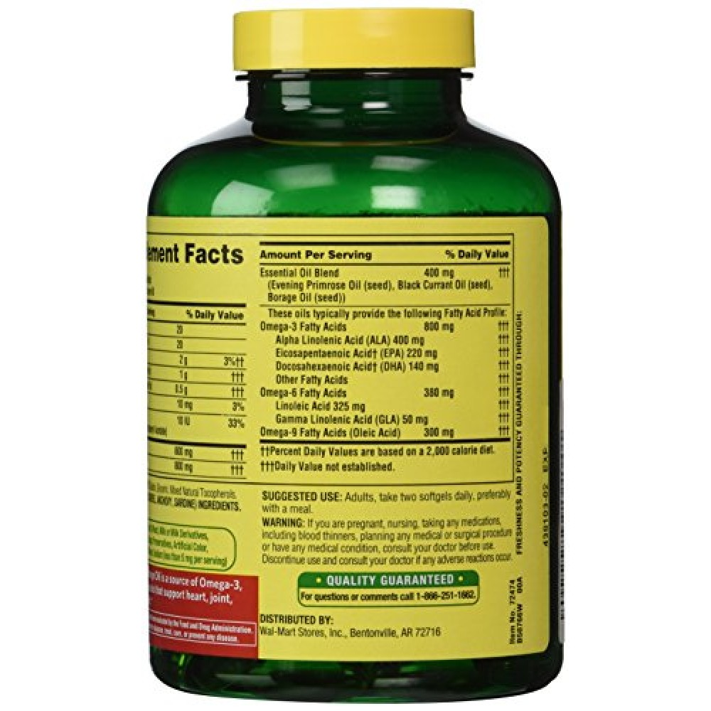 Buy Spring Valley Fish Flaxseed Borage Oil Omega 3 6 9 120