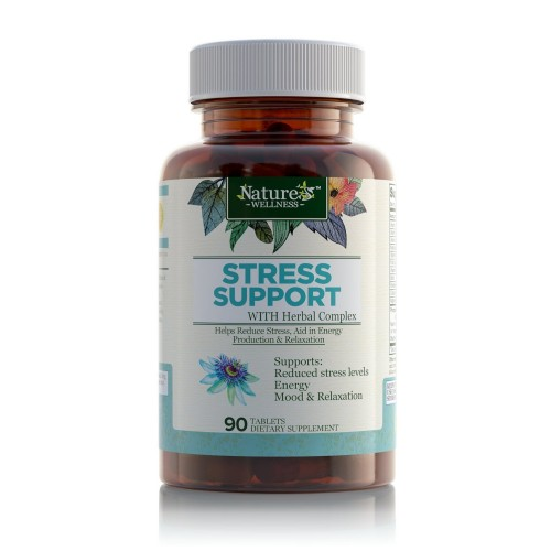 Stress Support with Herbal Extracts - 90 Count | Natural Support for Stress  Relief and Relaxation | with Vitamins C, B Complex, PABA, Choline, and