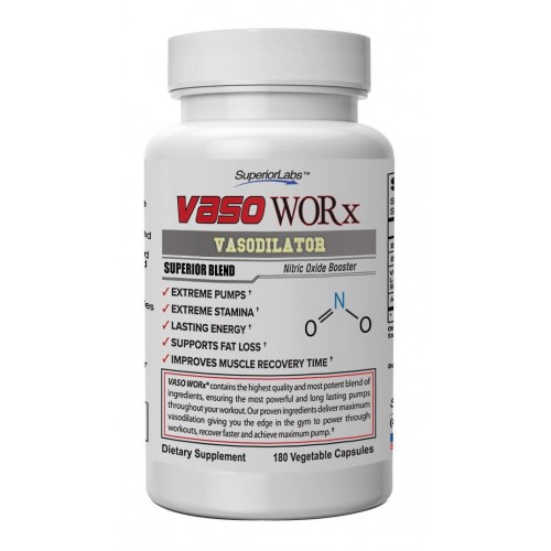 Superior Labs #1 Nitric Oxide Booster VASO WORX - SUPERIOR VASODILATION- PHENOMENALLY EFFECTIVE- Massive 4,600mg Nitric Oxide Complex -Developed and Manufactured in USA - 100% Money Back Guarantee