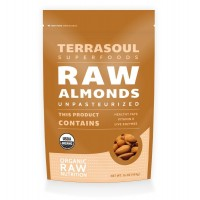 Terrasoul Superfoods Raw Unpasteurized Organic Almonds (Sproutable), 16 Ounce