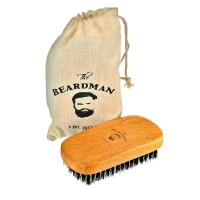 The Beardman Beard & Hair Brush, Bamboo/Beachwood with 100% Soft Boar Bristles, Comb Beards and Mustache Complete with Muslin Style Cotton Gift Bag (Soft)