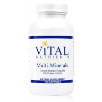 Vital Nutrients - Multi-Minerals - Citrate/Malate Formula (No Copper or Iron) - 120 Capsules