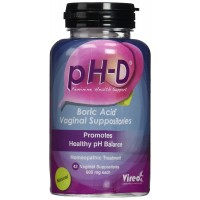 pH-D Feminine Health Support, Boric Acid Vaginal Suppositories, Bottle of 42 (600mg)