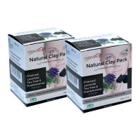 Satinance Natural Clay Pack - Charcoal, Lavender, Tea Tree & Frankincense) 100g - Pack of 2 (Detox, Deep clense & Reduce Blackheads)