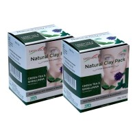 Satinance Natural Clay Pack - Green Tea & Spirilunna 100g (pack Of 2) -(100% Natural, Anti Ageing)