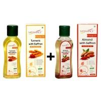 Satinance Turmeric With Saffron Massage Oil 100 Ml + Almond With Saffron Massage Oil 100 Ml