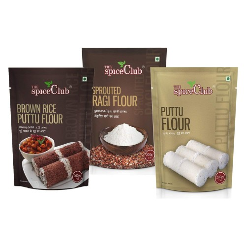 The Spice Club Brown Rice Puttu Flour 200g + Puttu Flour 200g + Sprouted Ragi Flour 200g